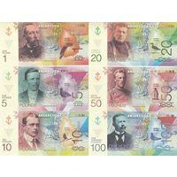 Остров Петра I Набор 6 банкнот 2017 год UNC