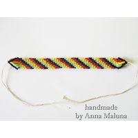 Браслет ручной работы полосатый из бисера в стиле хиппи фенечки