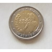 2 евро 2005 Испания 400-летие первого издания романа Хитроумный идальго Дон Кихот Ламанчский
