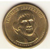 1 доллар 2007. 3-й президент США Томас Джеферсон.