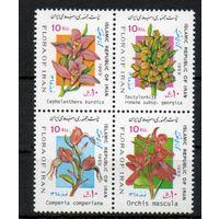 Флора Цветы Иран 1989 год серия из 4-х марок в сцепке