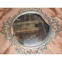 Зеркало СССР, вместе с рамкой 53*53см само зеркало диаметр 37см по предоплате вышлю почтой смотрите другие мои лоты