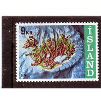 Исландия.Ми-468. Карта острова. 1972.