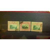 Марки, Британские колонии - Северное Борнео, 1902, транспорт, паровозы, железная дорога, архитектура, с надпечаткой