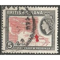 Британская Гвиана. Королева Елизавета II. Карта страны. 1954г. Mi#203.