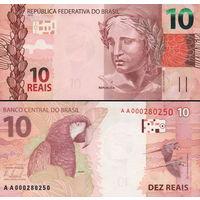 Бразилия  10 реалов   2010 год  UNC  (новинка)