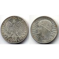 10 злотых 1932, Польша. Ядвига. Вариант без знака монетного двора под правой лапой Орла. Коллекционное состояние