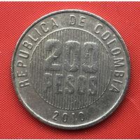 76-24 Колумбия, 200 песо 2010 г. Единственное предложение монеты данного года на АУ