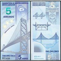 Федерация Северной Америки - 5 Ameros - 2011 - Polymer - UNC