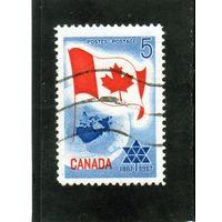 Канада.Ми-397. Флаг Канады и планета Земля. 1967.