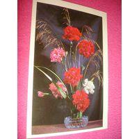 Открытка Цветы Гвоздики 1976г