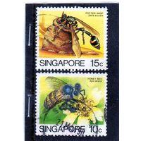 Сингапур.  Mi:SG 464,465. Азиатская медовая пчела (Apis javana). Оса Potter  (Delta arcuata). Серия: насекомые. 1985.