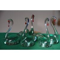 Лебеди стеклянные   5 шт .