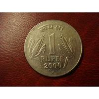 1 рупи 2000 год Индия (точка под датой)