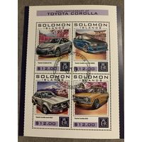 Соломоновы острова 2016. 50 лет Toyota Corolla. Малый лист