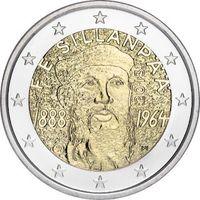 2 евро 2013 Финляндия 125 лет со дня рождения Франса Эмиля Силланпяя UNC из ролла