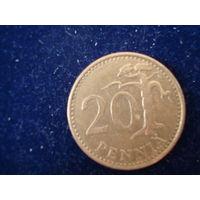 Монета 20 пенни, Финляндия, 1976 г.