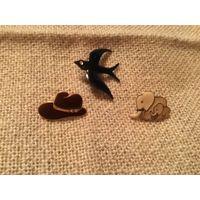 Броши Ласточка Шляпа Слоники с клеймом эмаль Германия винтаж