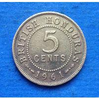 Британский Гондурас колония 5 центов 1961 тираж 75000