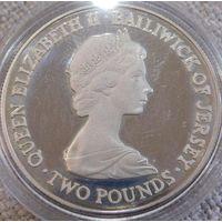 25. Джерси 2 фунта 1981 год, серебро, пруф.