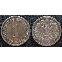 YS: Германия, Рейх, 1 пфенниг 1902A, KM# 10