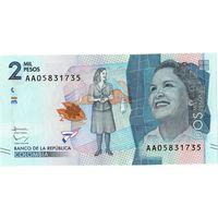 Колумбия, 2 000 песо, 2015 г., UNC