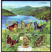 Блок 2002 год Азербайджан Бабочки 50
