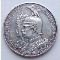 Пруссия 2 марки 1901 юбилей, серебро