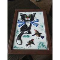 """Красивое настенное панно из цветного стекла"""" Кот """"."""