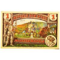 РАСПРОДАЖА!!! - ГЕРМАНИЯ МЮНСТЕРМАЙФЕЛЬД (РЕЙНЛАНД-ПФАЛЬЦ) 1 марка 1921 год - РЕДКАЯ! - UNC!