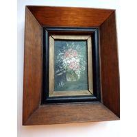 Картина миниатюра холст масло деревянная рамка винтаж