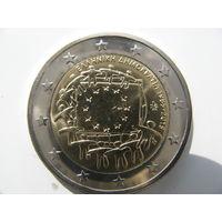 Греция 2 евро 2015 г. 30 лет флагу Европейского союза. (юбилейная) UNC!