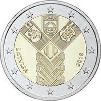 2 евро 2018 Латвия  100 лет государствам Балтики  UNC из ролла