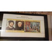 Открытие Америки, исторические события, известные люди, Колумб, карты, марки, Никарагуа, 1986, блок