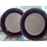2 тарелки кобальт с золотом