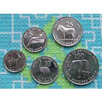 Эритрея 1, 5, 10, 25, 100 центов. Слон и слоненок. Зебра, Страус и др. животные Африки. UNC. Гарантия низкой цены!