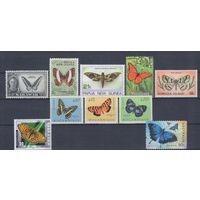 [232] Фауна.Бабочки. 10 чистых марок без клея.