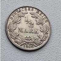 """Германия 1/2 марки, 1906 """"D"""" - Мюнхен 7-10-16"""
