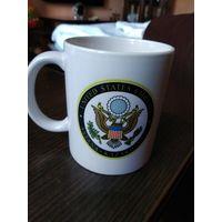 """Новая фарфоровая кружка""""Посольство США в Астана Казахстан""""."""