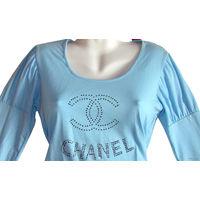 Блузка-кофточка трикотажная, р-р 46-50 (XL), новая, цвет небесно-голубой с блестящими стразами, 95% хлопок, 5%  эластан, трикотажный стрейч (очень тянется, но не деформируется), хорошего качества. Раз