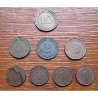 Германия. ФРГ. Набор монет. Пфенниги