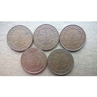 """Германия 5 евроцентов, 2005г.""""A.D.F.G.J""""  (U)"""
