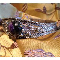 Браслет женский из мельхиора в технике филигрань с камнем чароит