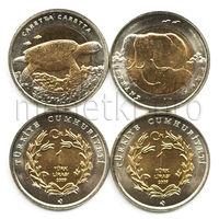 Турция 2 монеты 2009 года. Слон и черепаха (красная книга Турции).
