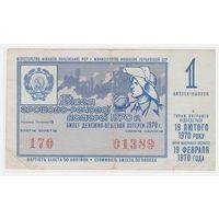Лотерейный билет УССР 1970 1 выпуск