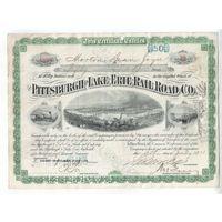 Прошлый век!!!  Нью Йорк Централ Лэйк Эри (железнодорожная компания)  50 долларов от 13 июля 1928 года  с наклееной  маркой