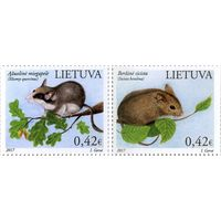 Литва 2017 г. Фауна Красная книга Литвы. Грызуны (2 марки).