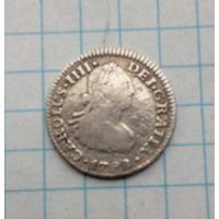 Мексика Испанская 1/2 реала1798г. Карл 4. Серебро 0,903