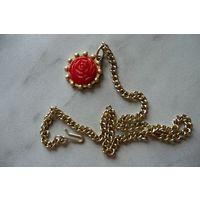 Цепочка/ ожерелье с розой (ГДР) 30 см