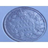 Канада 10 центов 1907.серебро.